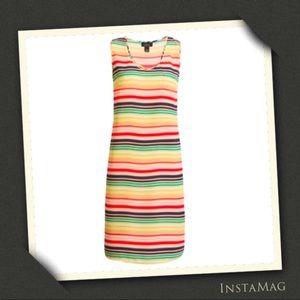 HALOGEN X ATLANTIC-PACIFIC Striped Shift Dress